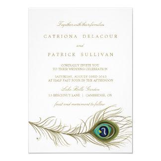 Invitación caprichosa del boda de la pluma del