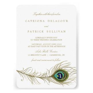 Invitación caprichosa del boda de la pluma del pav