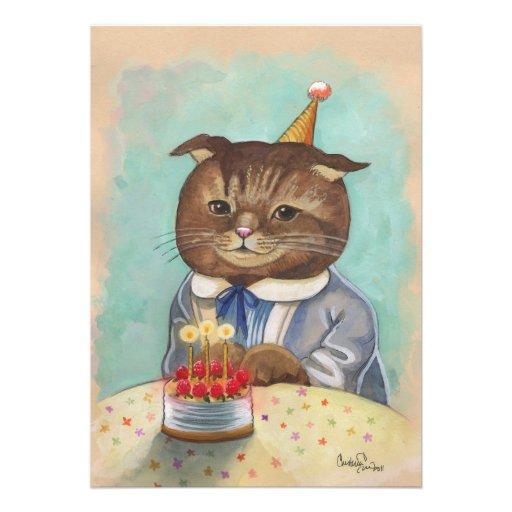 Invitación caprichosa del gatito del cumpleaños