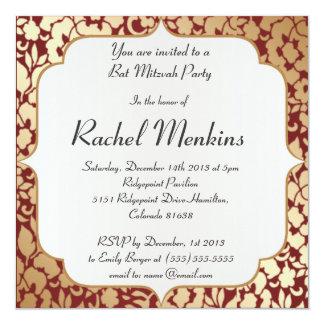 Invitación carmesí de oro metálica de Mitzvah del Invitación 13,3 Cm X 13,3cm