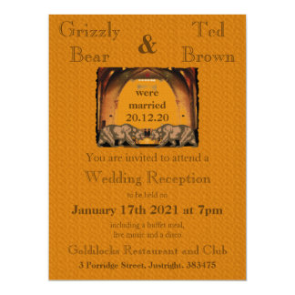 Invitación casada de la recepción del oso de invitación 16,5 x 22,2 cm