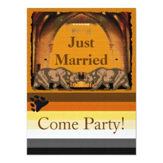 Invitación casada del fiesta del gay del oso de invitación 16,5 x 22,2 cm