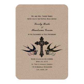 Invitación católica del boda de los pájaros del