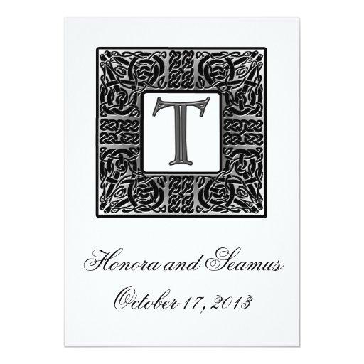 Invitación céltica con monograma de plata del boda