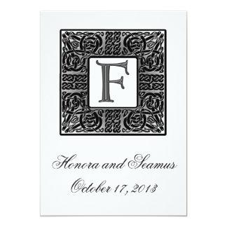 Invitación céltica con monograma de plata del boda invitación 12,7 x 17,8 cm
