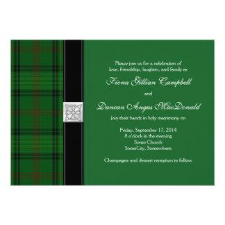 Invitación céltica del boda del tartán de la caza