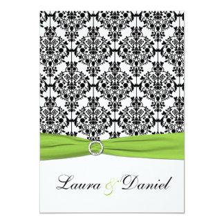 Invitación chartreuse, blanca, negra del boda del