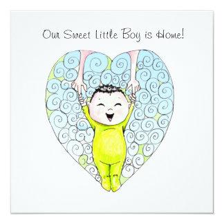 Invitación china de la adopción del muchacho invitación 13,3 cm x 13,3cm