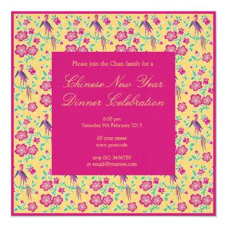Invitación china del Año Nuevo del batik floral de