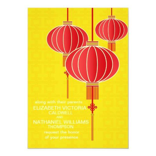 Invitación china del boda de la linterna de la