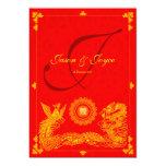 Invitación china del boda de Phoenix del dragón Invitación 12,7 X 17,8 Cm