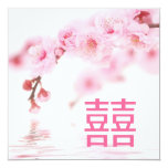 Invitación china del boda del flor rosado de la