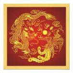 Invitación china del boda del oro rojo de Phoenix