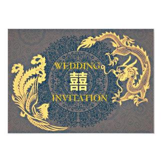 Invitación china moderna del boda de invitación 12,7 x 17,8 cm