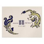 Invitación china moderna del boda de Dragón-Phoeni