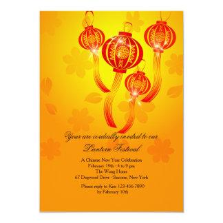 Invitación china roja de las linternas