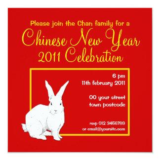 Invitación china roja del Año Nuevo del conejo