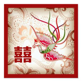 Invitación china roja del boda de Phoenix del