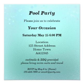 Invitación chispeante de la fiesta en la piscina invitación 13,3 cm x 13,3cm