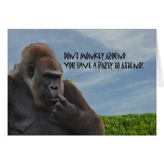Invitación chistosa divertida del fiesta del goril felicitacion