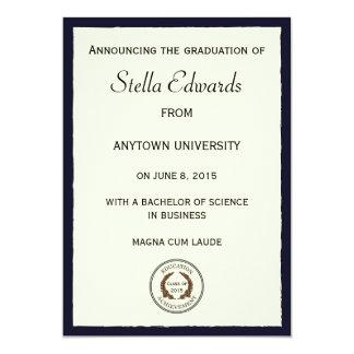 Invitación clásica azul de la graduación