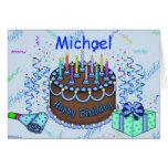 Invitación clásica de la torta de cumpleaños para  tarjeton