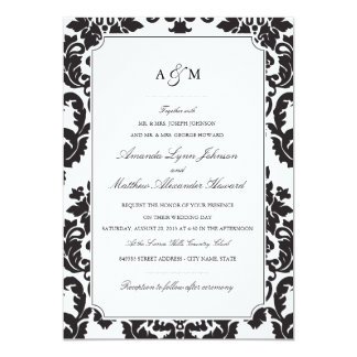 Invitación clásica del boda del damasco invitación 12,7 x 17,8 cm