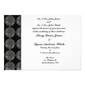 Invitación clásica del boda del damasco