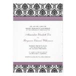 Invitación clásica del boda del damasco (cintas de