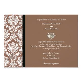 Invitación clásica del boda del damasco de la nuez