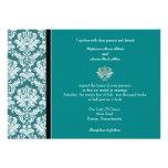 Invitación clásica del boda del damasco del trullo
