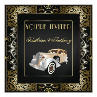 Invitación clásica del boda del estilo de Gatsby d