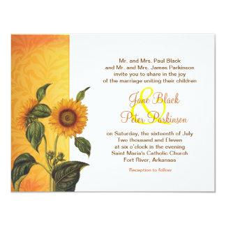 invitación clásica del boda del girasol