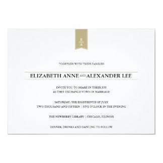 Invitación clásica del boda del oro de los invitación 12,7 x 17,8 cm