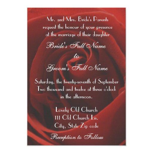 Invitación clásica elegante del boda del rosa rojo