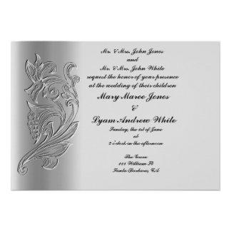 Invitación clásica grabada en relieve del boda