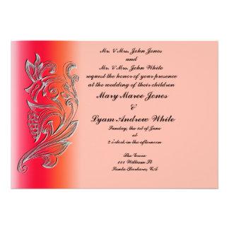 Invitación clásica grabada en relieve salmones del