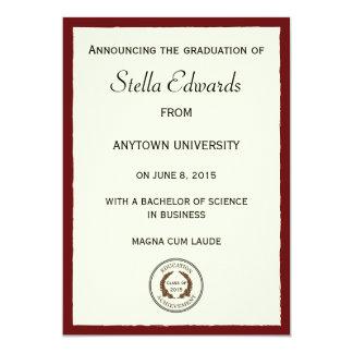 Invitación clásica roja de la graduación