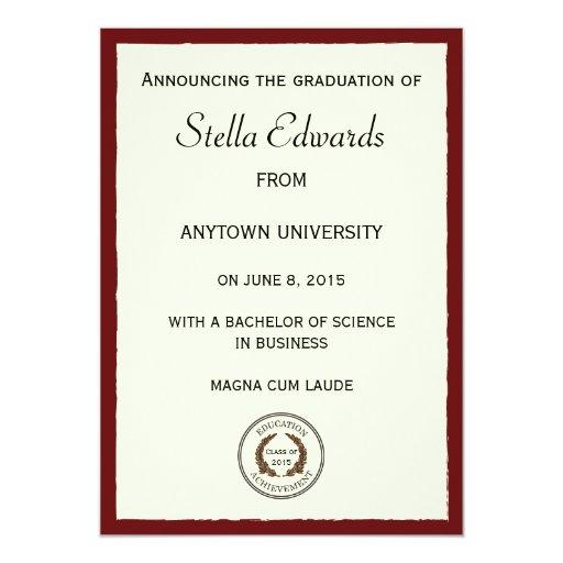 Invitación clásica roja de la graduación invitación 12,7 x 17,8 cm