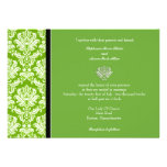 Invitación clásica verde del boda del damasco