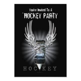 Invitación coa alas del fiesta del hockey