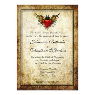 Invitación coa alas tatuaje del boda del corazón