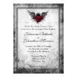 Invitación coa alas tatuaje del boda del corazón d