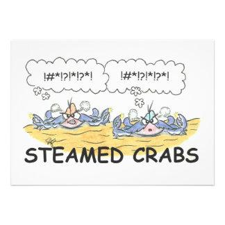 Invitación cocida al vapor de los cangrejos