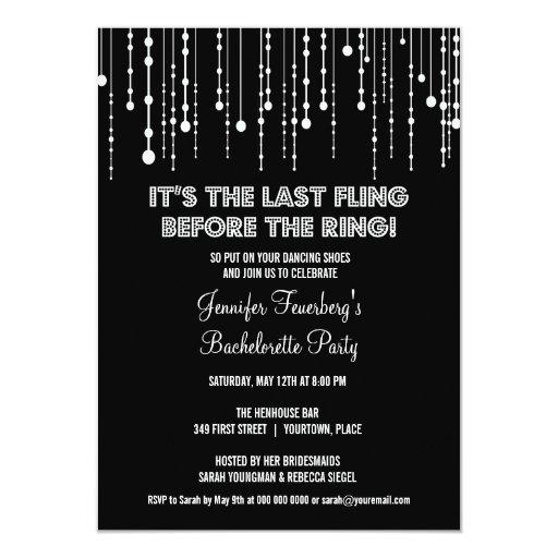 Invitación colgante del fiesta de Bachelorette de