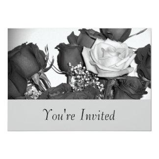 Invitación color de rosa blanco y negro