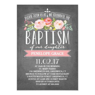 Invitación color de rosa del bautismo de la