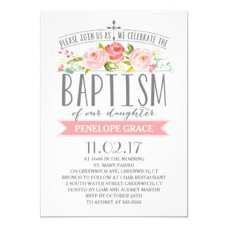 Invitación color de rosa del bautismo del chica de