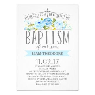 Invitación color de rosa del bautismo del muchacho