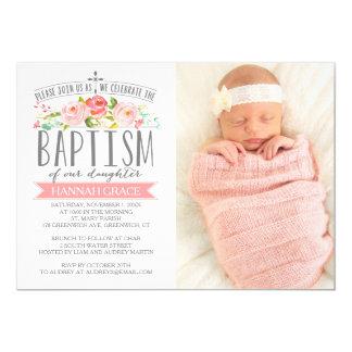Invitación color de rosa del bautismo del rosa de